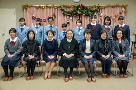 清心中学校・清心女子高等学校校長先生・顧問の先生・Sクラブ会員・SI岡山参加会員の集合写真